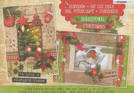 Traditional Christmas 3d Decoupage Die Cut Decoupage A5 Block  By Studio Light